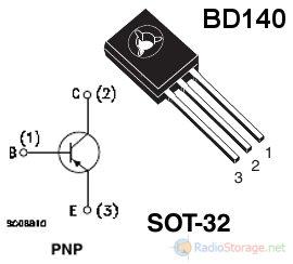Цоколевка транзистора BD140 (P-N-P)