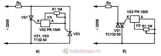 Схема включения симистора тс132