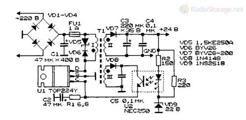 Импульсный блок питания на микросхеме фирмы Power Integration