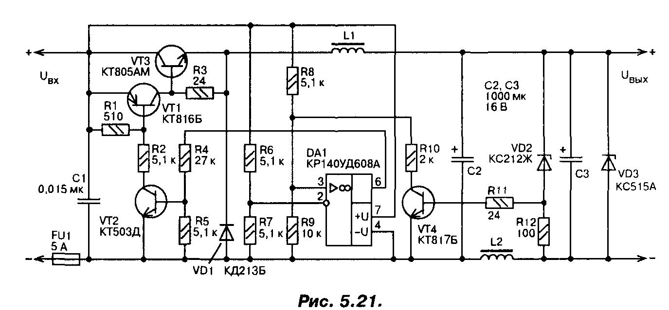 схема стабилизатора напряжения на транзисторе кт 817