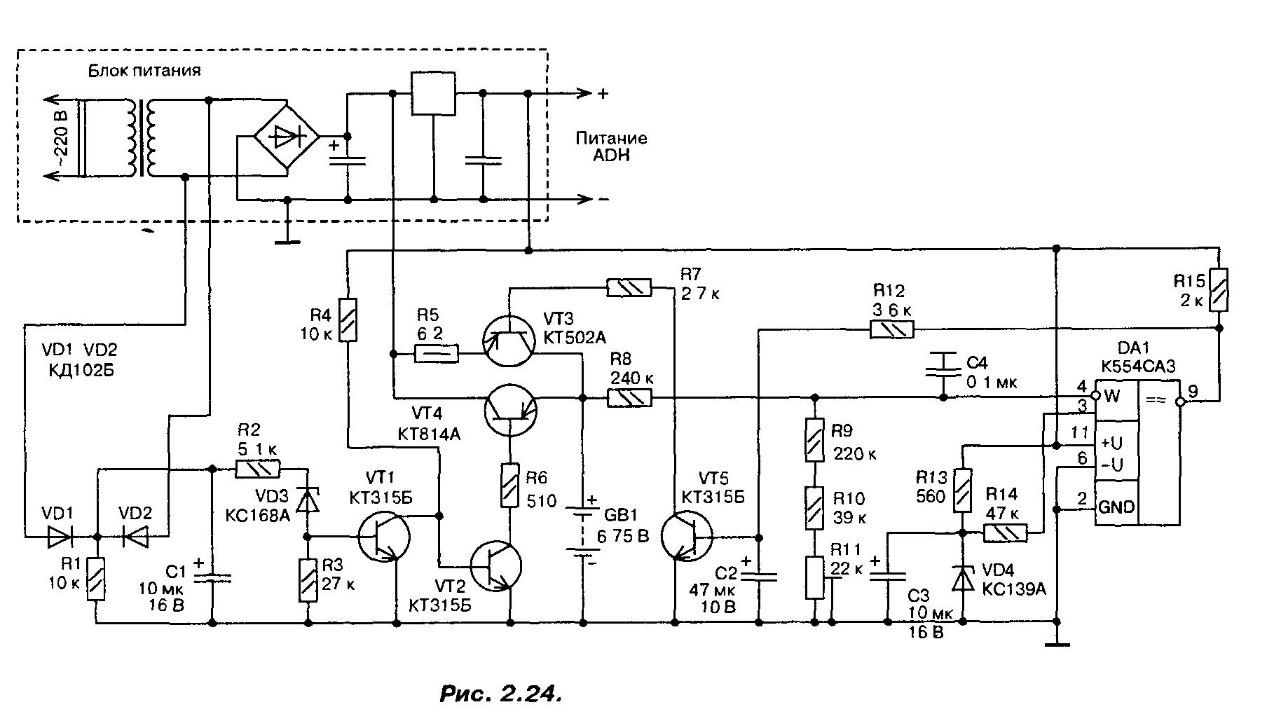 Напряжение на выходе компаратора падает, что приводит к значительному уменьшению зарядного тока.