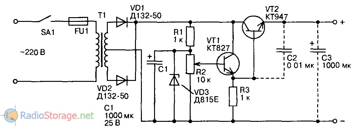 Принципиальная схема мощного стабилизатора напряжения на 0-15В и ток 5А, 10А, 20А.