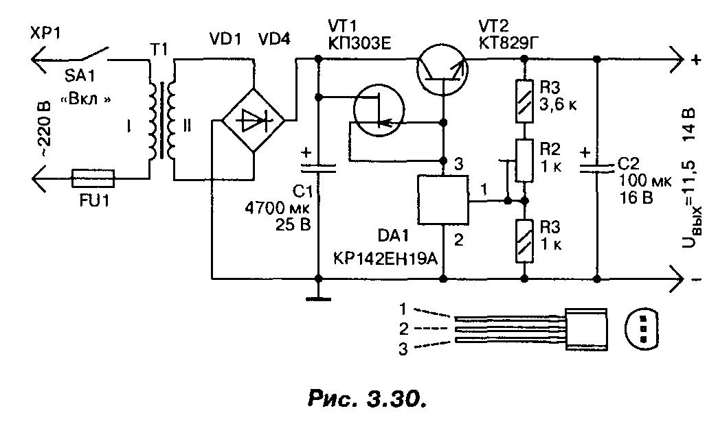 istochniki pitaniya Стабилизатор напряжения на мощном полевом транзисторе 13В (IRLR2905).