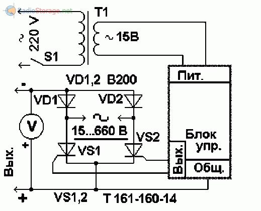 Схема регулятора тока на тиристорах