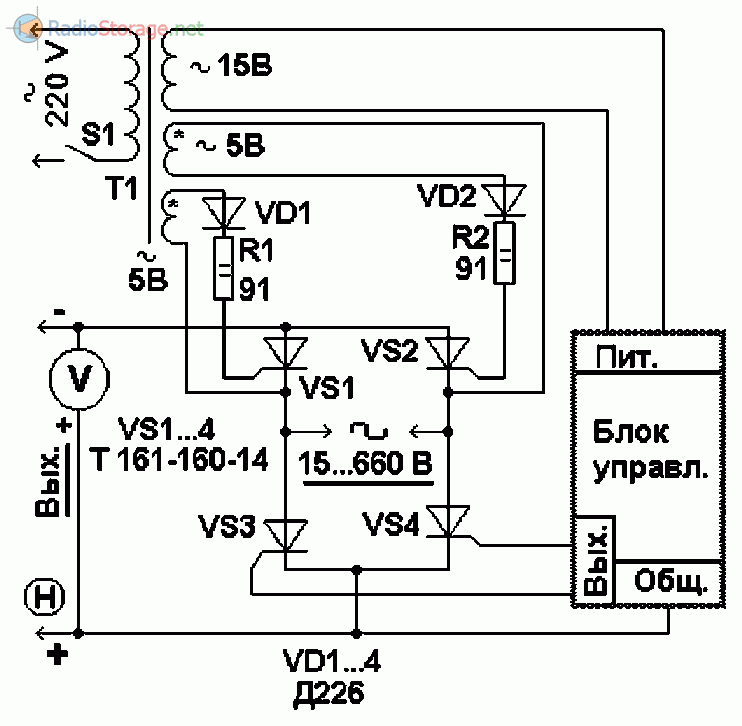 Тиристорный мост для регулировки тока в широком диапазоне