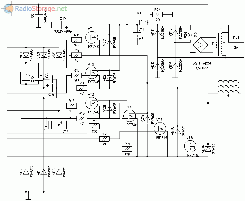 Принципиальная схема микроконтроллерного управления асинхронным трехфазным двигателем