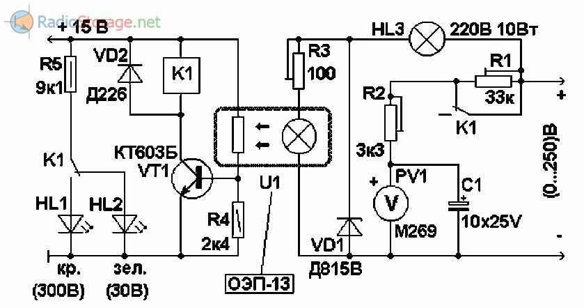 Схема автоматического двухпредельного вольтметра