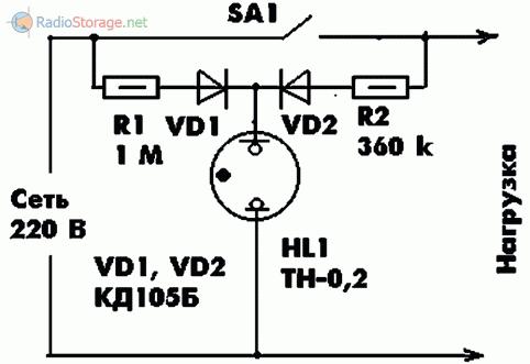 Схема индикатора состояния выключателя на неоновой лампе - вариант 2