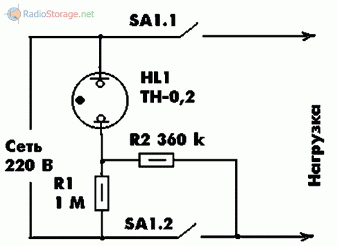 Схема индикатора состояния нагрузки на неоновой лампе с двуполюсным выключателем