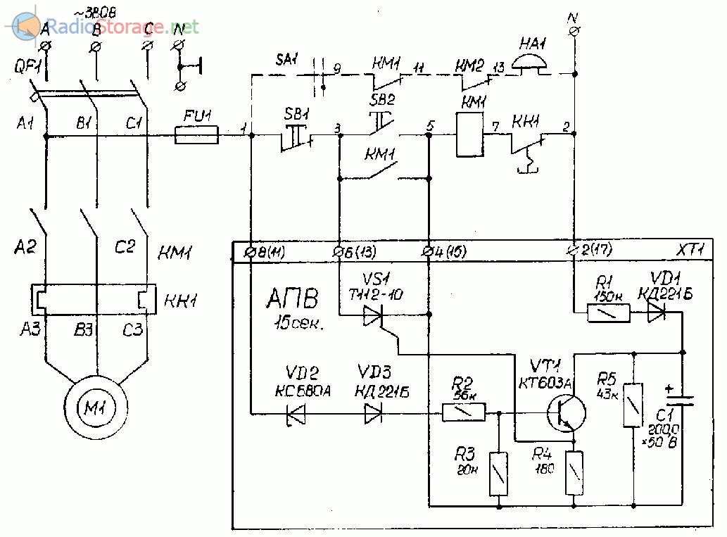 Устройство автоматического повторного включения трехфазного электродвигателя