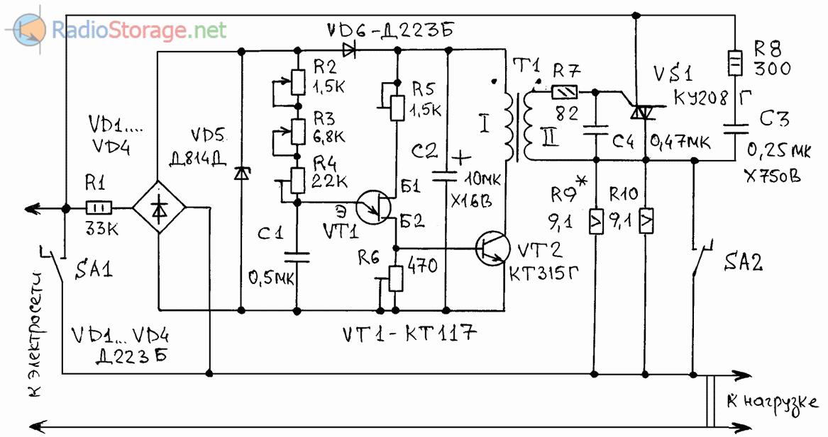 Принципиальная схема регулятора оборотов вала электродрели с питанием от 220В