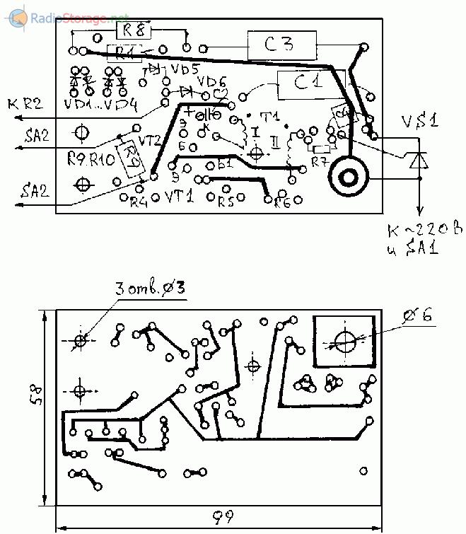 Печатная плата для схемы регулировки частоты вращения двигателя электродрели 220В