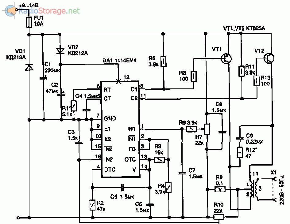 Схема преобразователя 12 в 220 на микросхеме