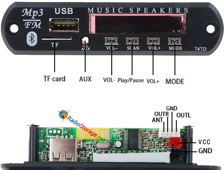 Обзор модуля 747D, советы по установке (mp3-плеер, FM-радио)