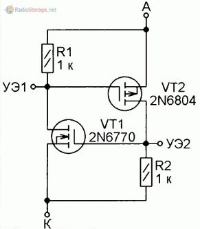 Аналог тринистора на двух полевых транзисторах с разными типами проводимости каналов