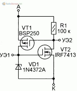 Аналоги тринисторов с полевыми транзисторами