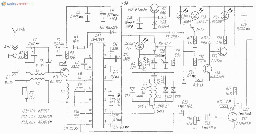 Принципиальная схема УКВ приемника на микросхеме К174ХА34 (TDA7021)
