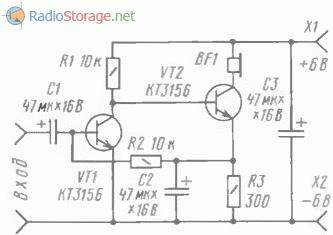 Схема двухкаскадного усилителя ЗЧ на транзисторах одинаковой структуры