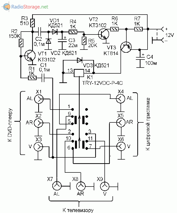 Схема переключателя входов AV с автоматическим определением наличия видео-сигнала