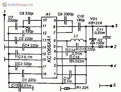 Принципиальная схема УКВ приемника на микросхеме KC1066XA1