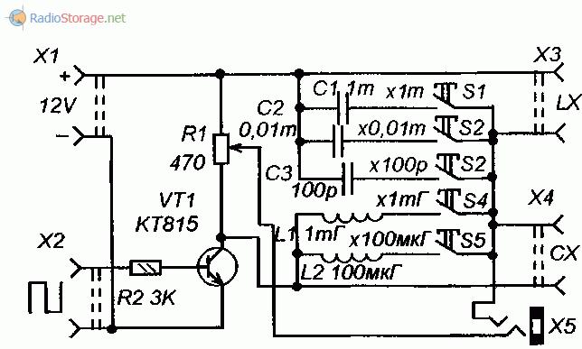 Принципиальная схема мостового измерителя емкости и индуктивности