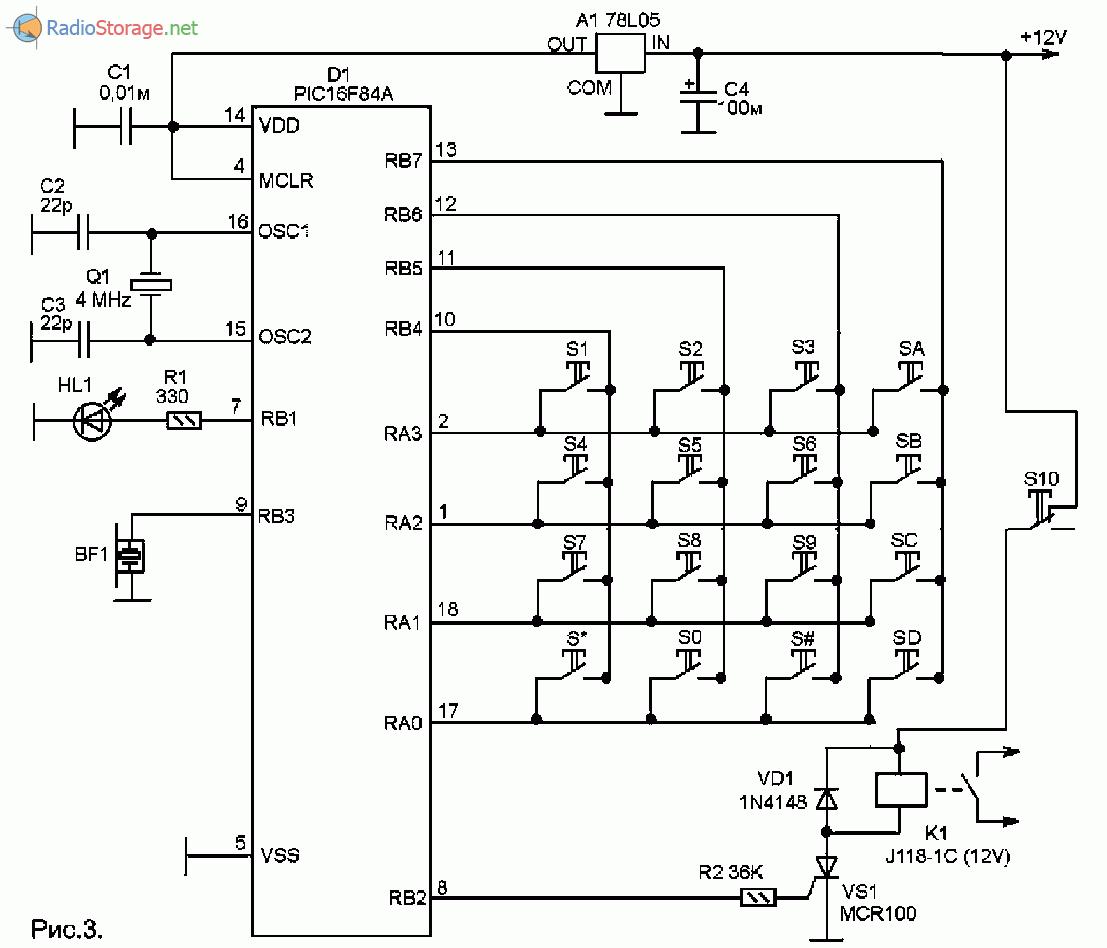 Принципиальная схема кодового замка на микроконтроллере P1C16F84A