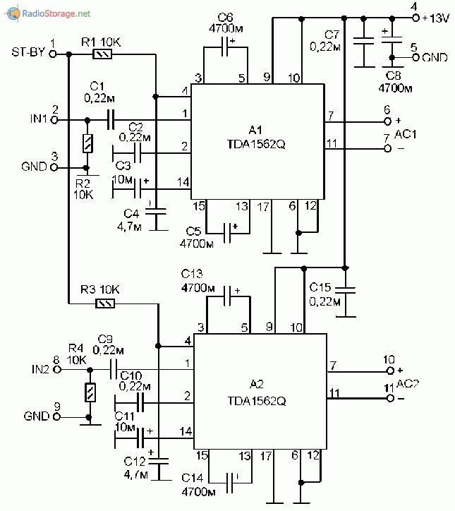 Tda1562q мостовая схема