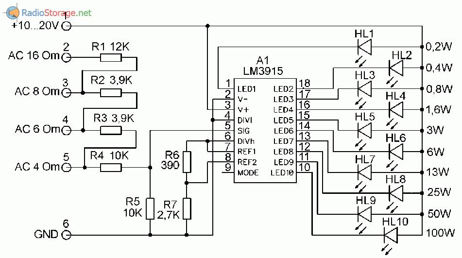 Принципиальная схема индикатора выходной мощности усилителя НЧ на LM3915
