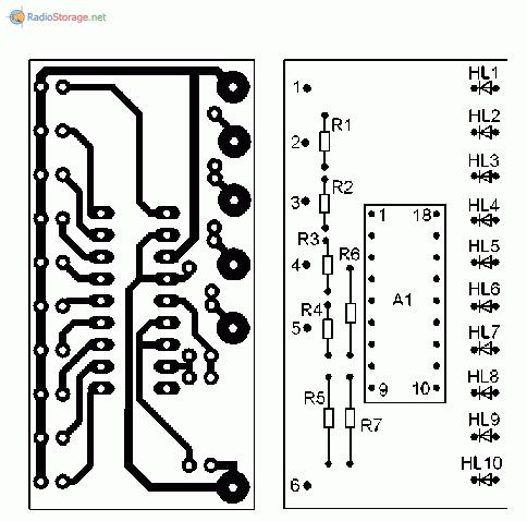 Печатная плата для светодиодного индикатора выходной мощности
