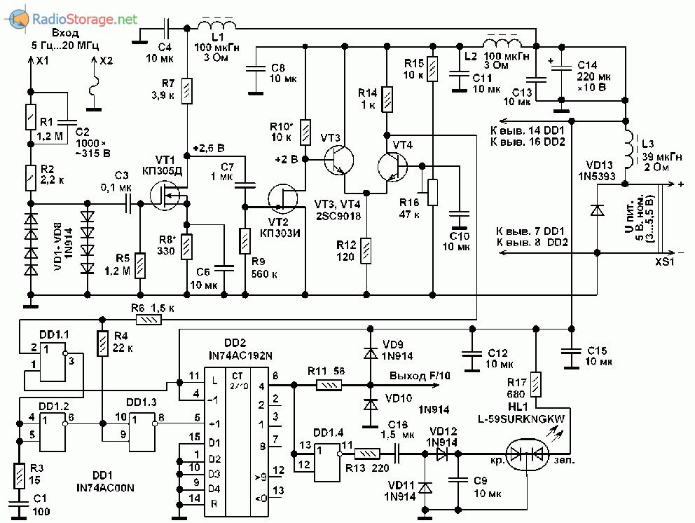 Схема делителя частоты к мультиметру