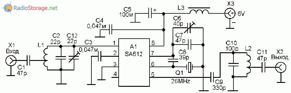 УКВ-КВ конвертер 50МГц - 28Мгц (SA612)