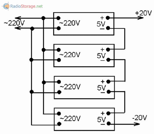 Как соединить мобильные зарядные устройства на +5В для получения +10В, +15В