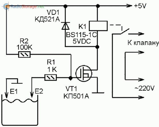 Принципиальная схема устройства для автоматического управления водяным насосом для наполнения резервуара
