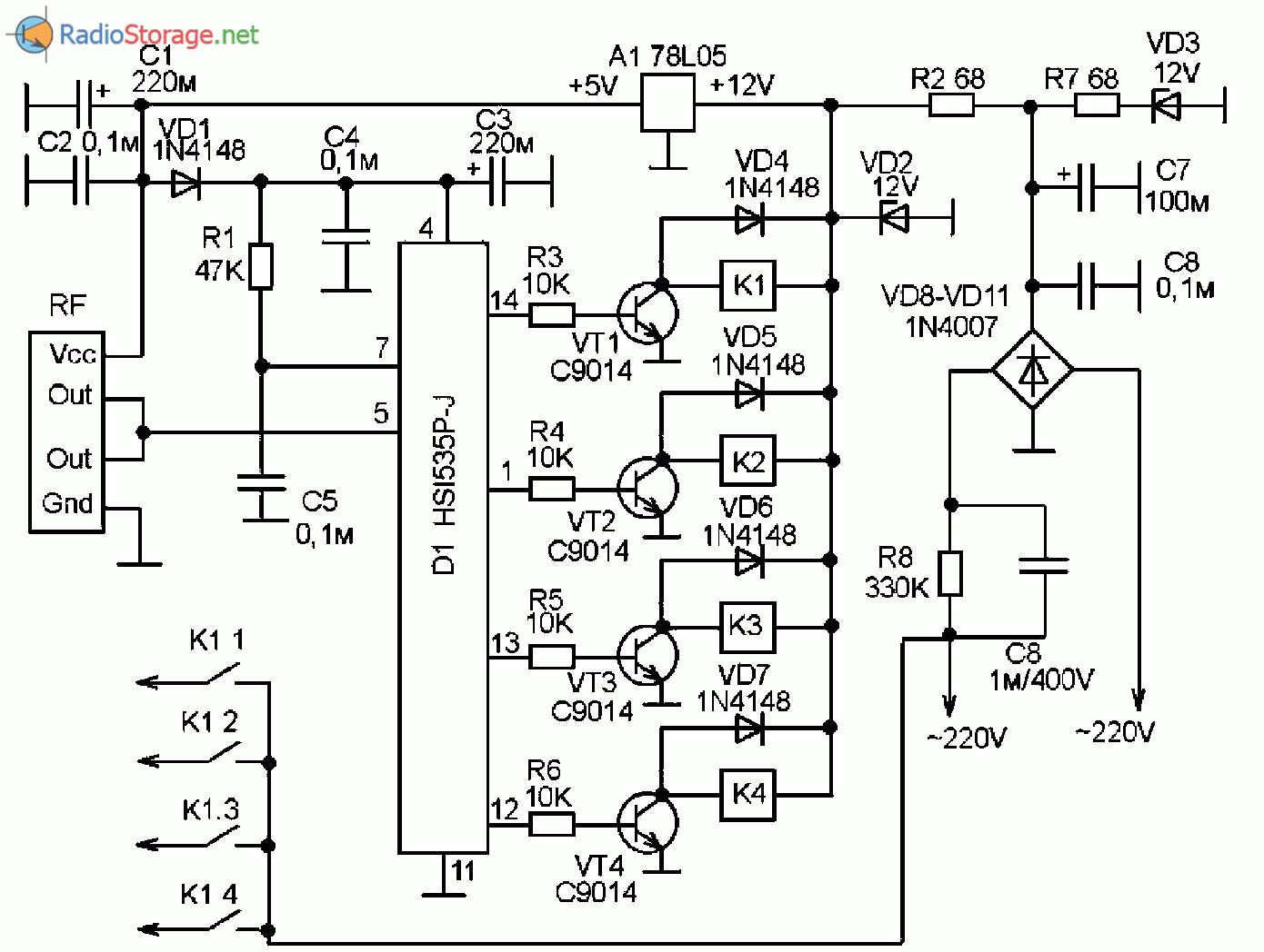 Как запитать китайский дистанционный выключатель от 5В или 12В