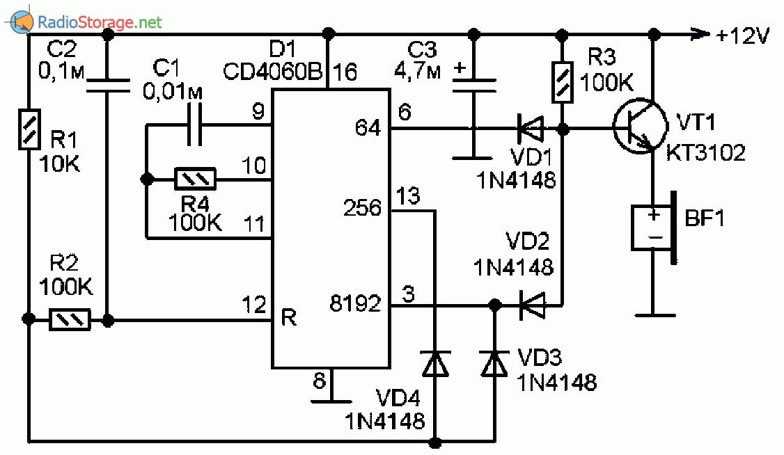 Схемы звуковых сигнализаторов на пьезоизлучателе
