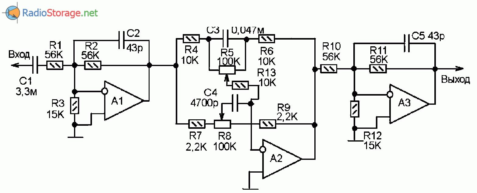 схема 5-полосного графического эквалайзера