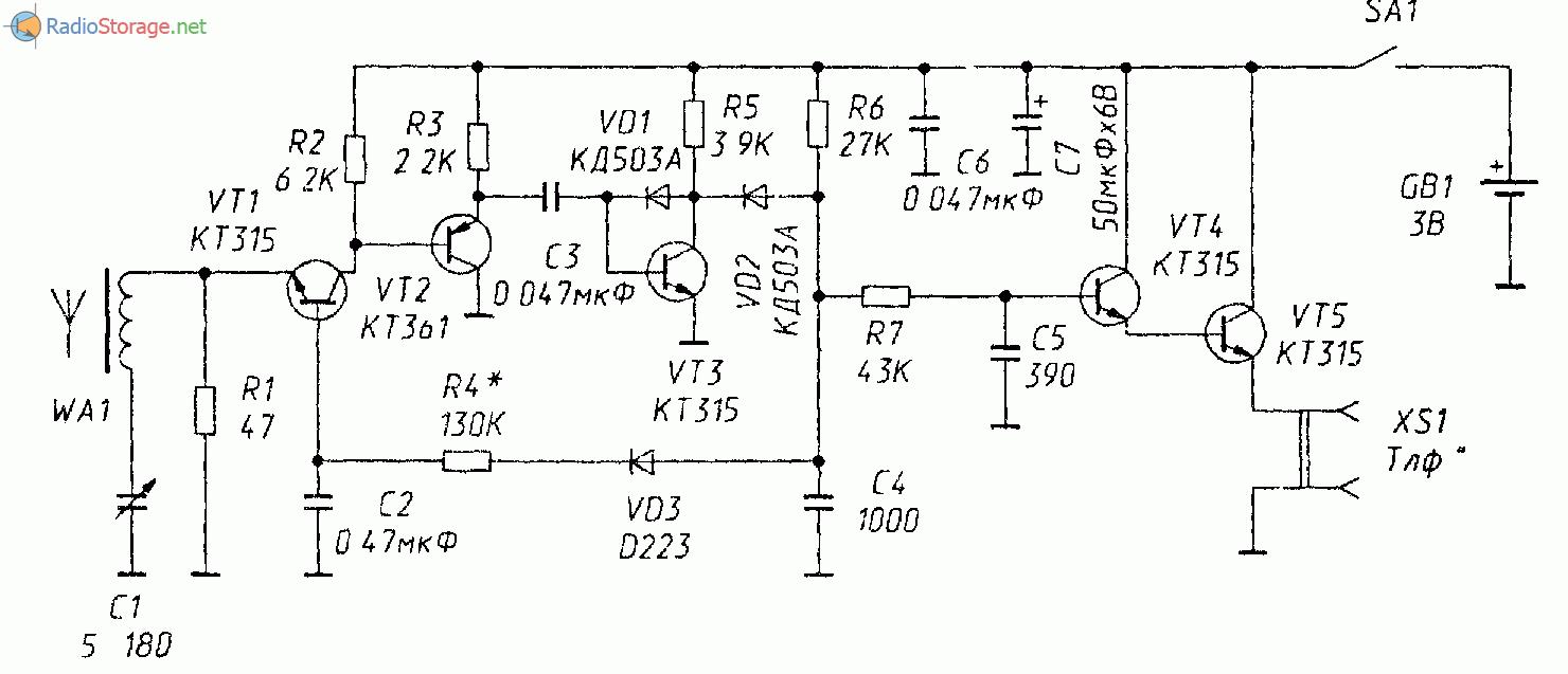 Схема: Приемник КВ диапазона на биполярных транзисторах с АРУ.