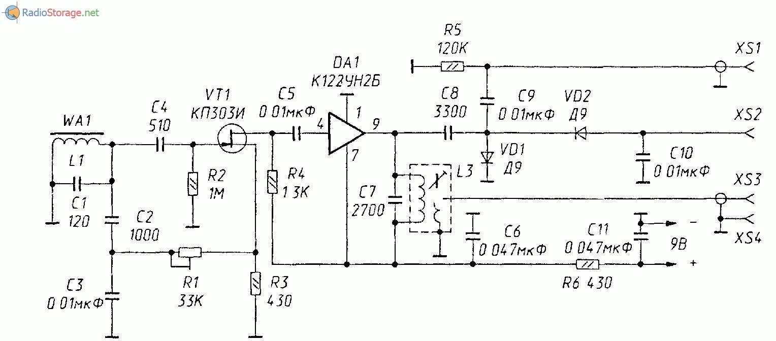 Схема: Схема СВ приемника Q умножителя.