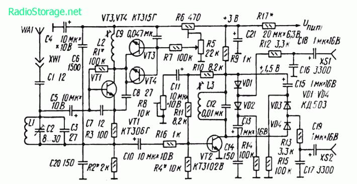 Схема транзисторного FM тюнера