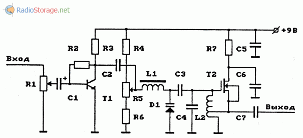 Схема УКВ ЧМ-передатчика на полевом транзисторе с изолированным затвором, с электронной перестройкой частоты