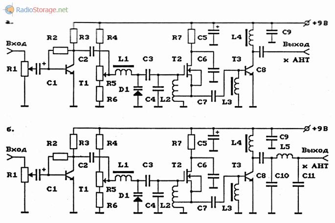 Схемы УКВ ЧМ-передатчиков повышенной мощности с электронной перестройкой частоты