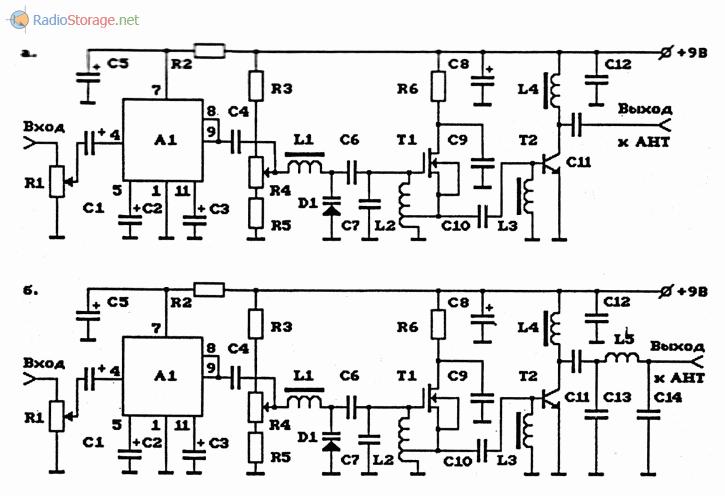 Схемы УКВ ЧМ-передатчиков повышенной мощности на полевых транзисторах с усилителями мощности и с УНЧ на ИС 122УС1Д