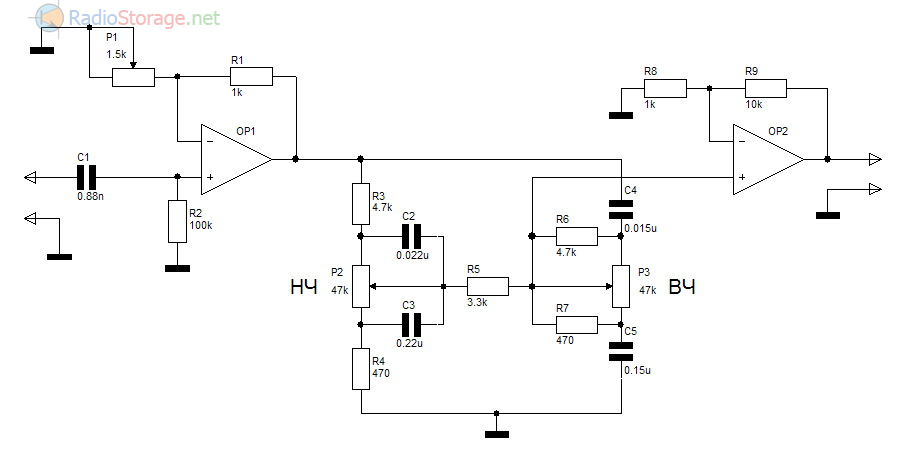 Схема пассивного регулятора тембра Баксандала