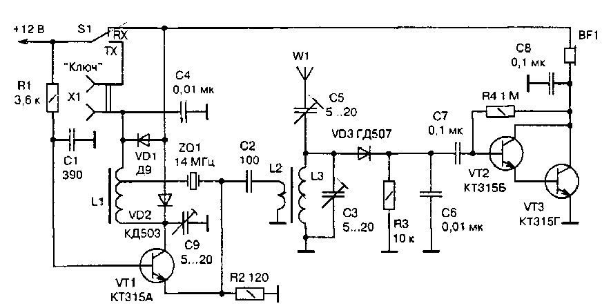 Схема QRPP трансивера (UB5UG)