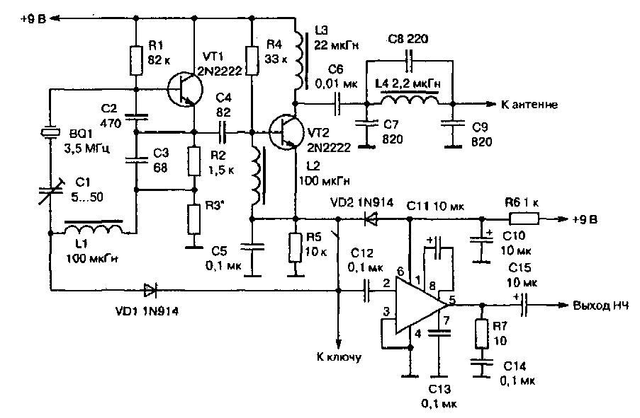 QRPP Микротрансивер (20-80м,