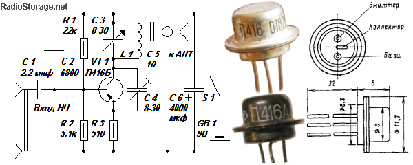 Принципиальная схема простого УКВ ЧМ (FM) радиопередатчика на транзисторе П416